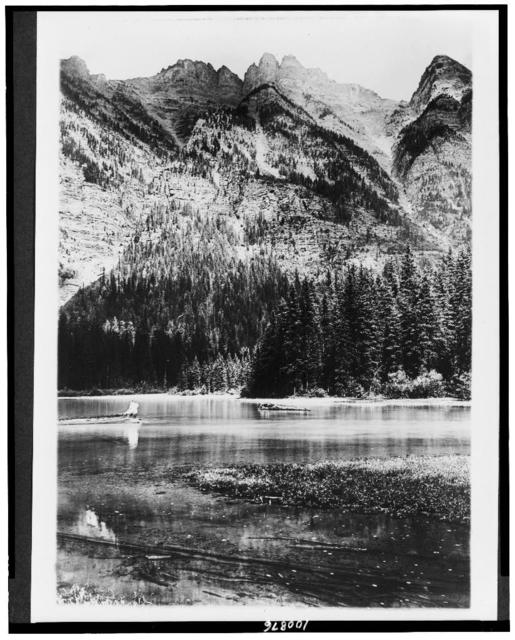 [Glacier National Park, Montana. Cliffs on northeast side of Lake Avalanche, East End Mountain]