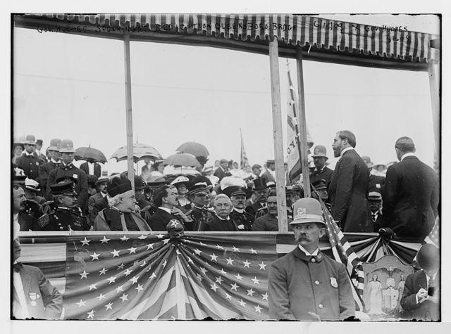 Gov. Hughes speaking at the dedication of the Queensboro Bridge, New York