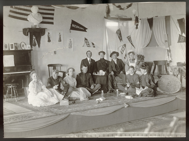 Group of students on stage for a class play at State Normal School, Kearney, Nebraska.