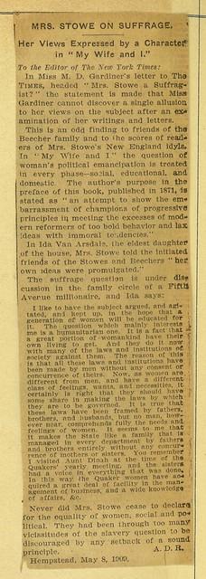 Harriet Beecher Stowe on Suffrage
