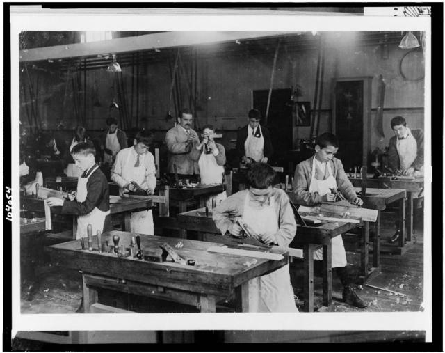 Headed for Industry.  An Inducement to Remain in School Until Fit to go to Work. Boston 1915 Exhibit.