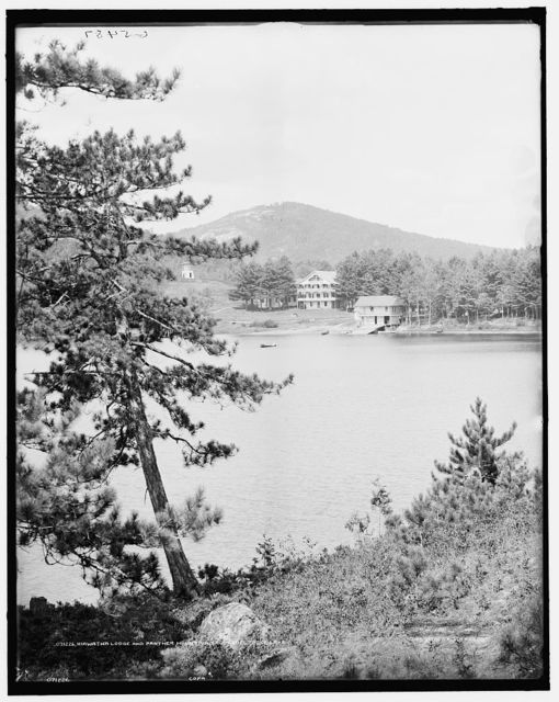 Hiawatha Lodge and Panther Mountain from Spectacle Lake [i.e. Ponds]