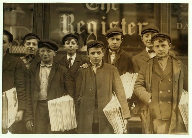 High school route boys. Adolescents. Some in back row have been newsboys for seven, eight and nine years.  Location: New Haven, Connecticut.