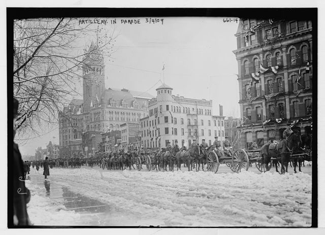 Inaugural parade for Taft, artillery, on Penn. Ave., Washington, D.C.