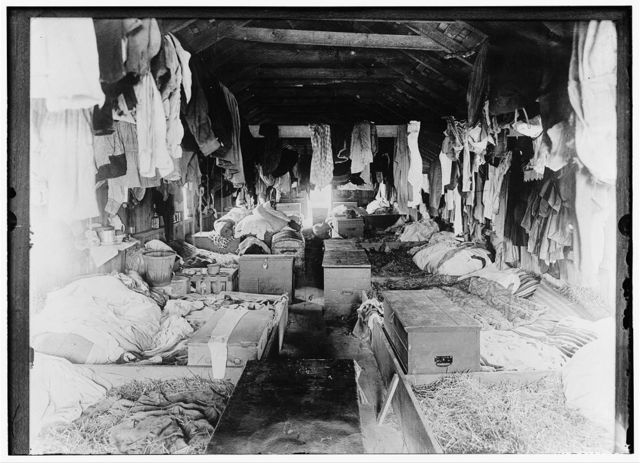 Interior of a shack occupied by berry pickers. Anne Arundel County., Maryland. Courtesy of Maryland Child Labor Committee.  Location: Anne Arundel County, Maryland.