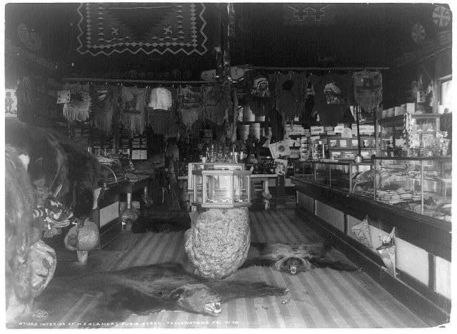 Interior of H.E. Klamer's curio store, Yellowstone Pk., Wyo.