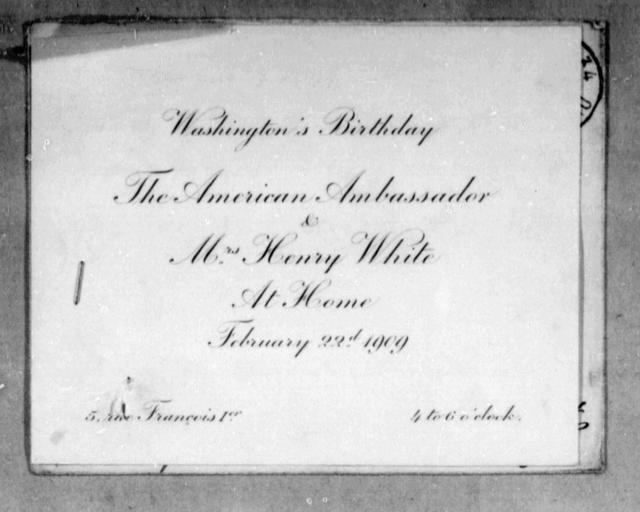 [Invitation to Monsieur Wilbur Wright for Washington's birthday celebration, 22 February 1909]