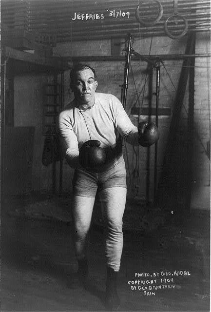 [James J. Jeffries, full-length portrait, standing, facing front; in boxing pose]