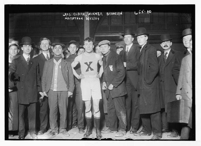 Jas. Clark, winner of Brooklyn Marathon, with others