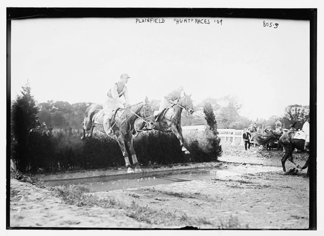 "Jumping hedges in ""Hunt Races"", Plainfield"