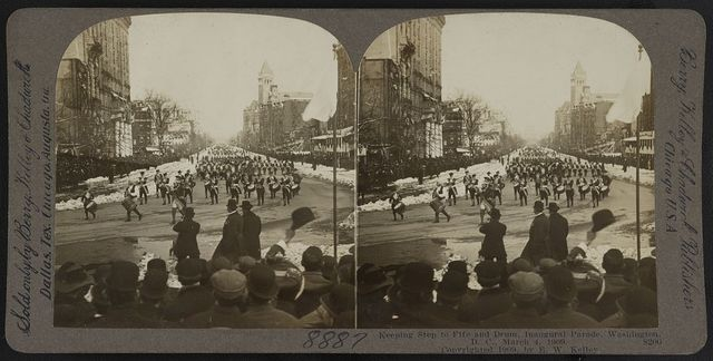 Keeping step to fife and drum. Inaugural parade, Washington, D.C., March 4, 1909