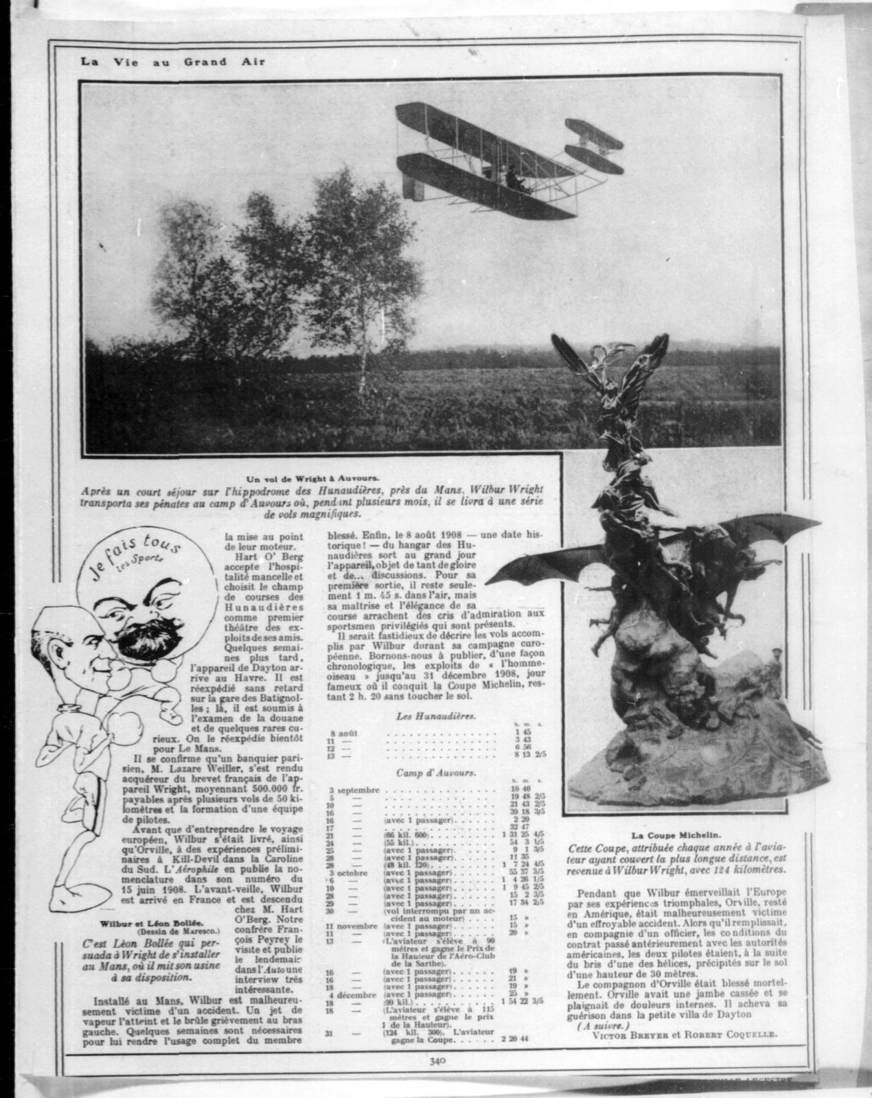 La Vie et les Inventions des Fréres Wright [Victor Breyer and Robert Coquelle, La Vie au Grand Air, 22 May 1909]
