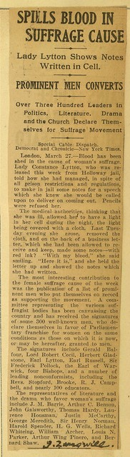Lady Lytton Spills Blood in Suffrage Cause