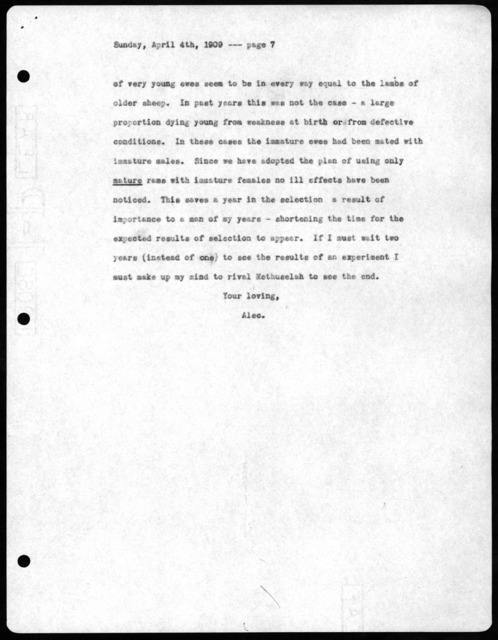 Letter from Alexander Graham Bell to Mabel Hubbard Bell, April 4, 1909