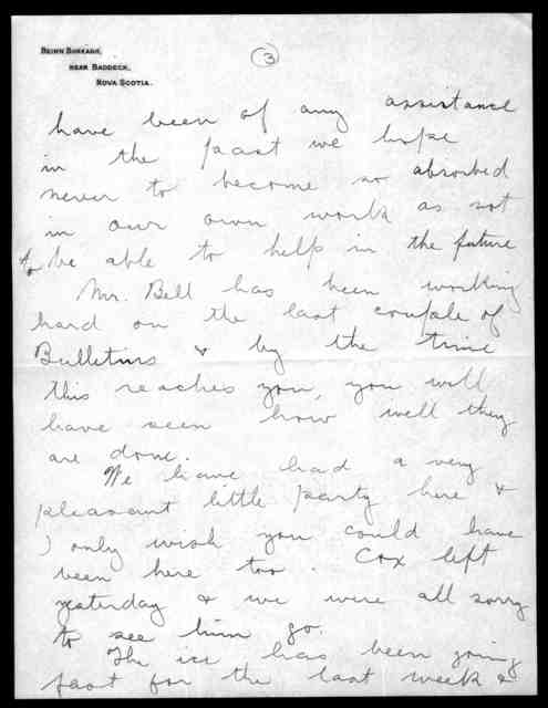 Letter from Frederick W. Baldwin to Mabel Hubbard Bell, April 12, 1909