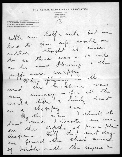 Letter from Frederick W. Baldwin to Mabel Hubbard Bell, March 15, 1909
