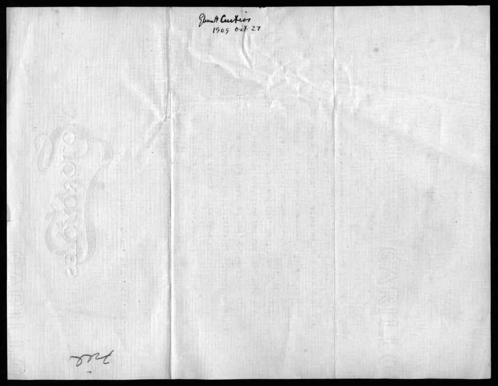 Letter from Glenn H. Curtiss to Alexander Graham Bell, October 27, 1909