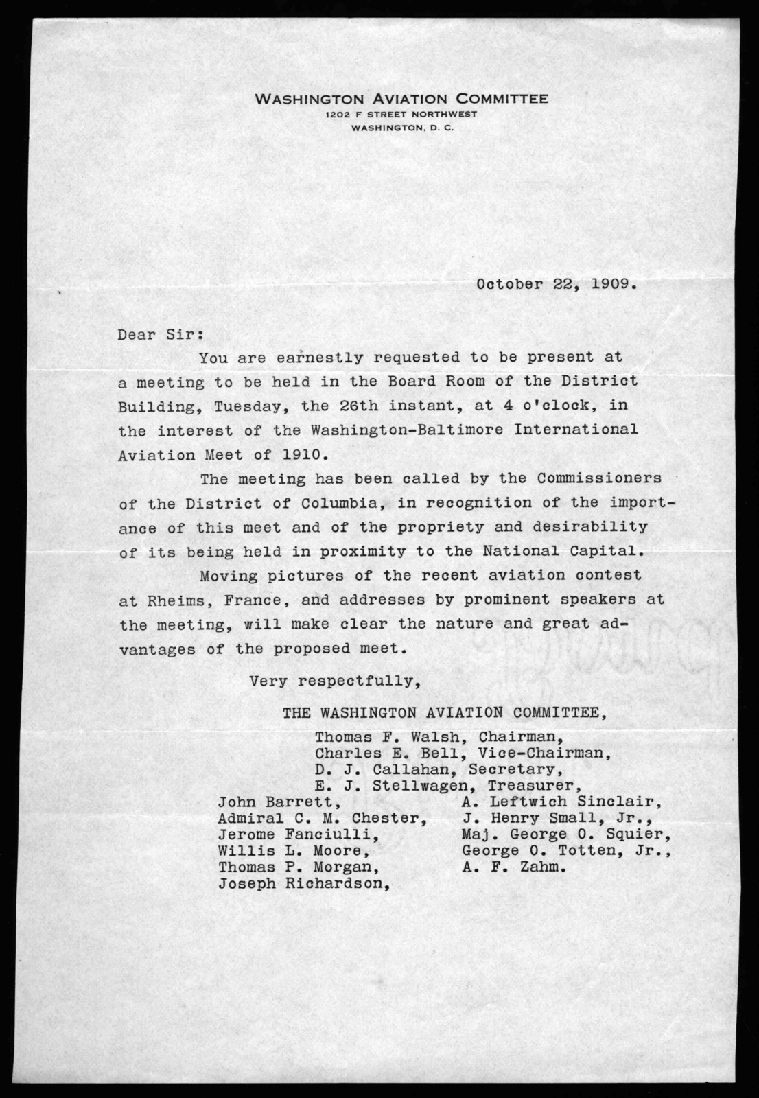Letter from The Washington Aviation Committee to Alexander Graham Bell, October 22, 1909