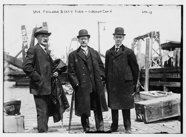 Liberian Commission at boat docks: Sale, Faulkner, and Finch, Sec'y, New York
