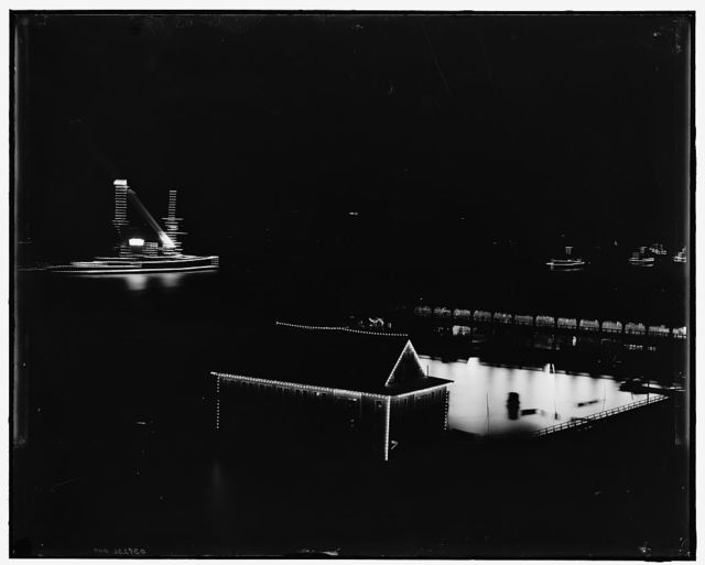 [Line of battleships at night, Hudson River]