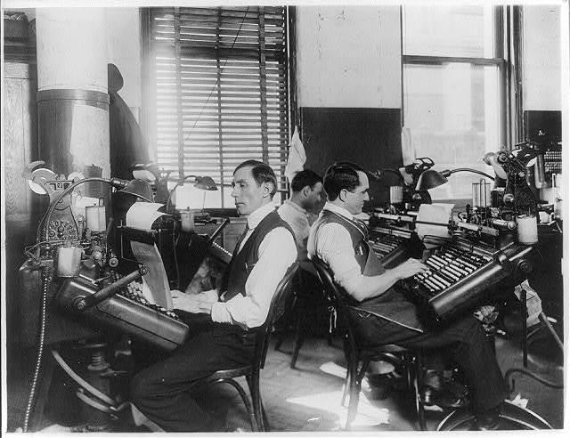 [Linotype compositors at work, N.Y. World]