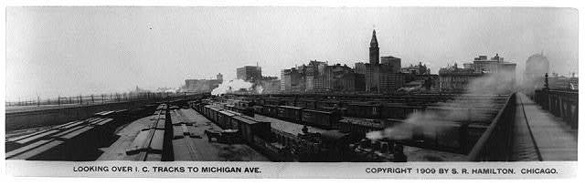 Looking over I.C. tracks to Michigan Ave.