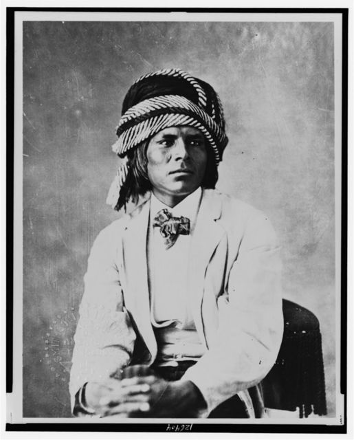 [Luig Moraque, a Pima man, half-length portrait, seated, facing slightly right, wearing a turban] / photo by Alexander Gardner.