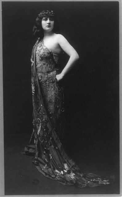 Mary Garden, 1874-1967, full length, dressed for operatic role