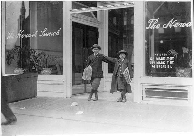 Max Schwartz (8 yrs. old) and Jacob Schwartz, 163 Howard St., Newark, N.J. Sell until 10 P.M. sometimes.  Location: Newark, New Jersey.