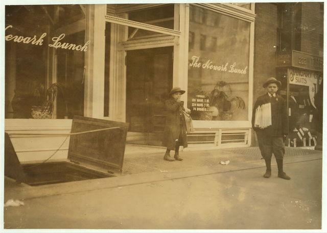 Max Schwartz (8 yrs. old) and Jacob Schwartz. 163 Howard St. Newark, N.J. Sell until 10 P.M. sometimes.  Location: Newark, New Jersey.