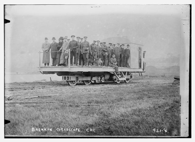 Men and officers on Brennan gyroscope car