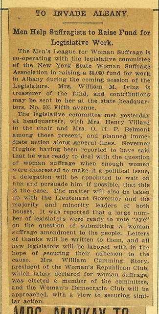 Men Help New York State Woman Suffrage Association Raise Fund for Legislative Work in Albany