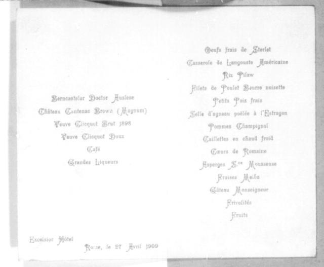 [Menu from the Exelsior Hotel, 27 April 1909]