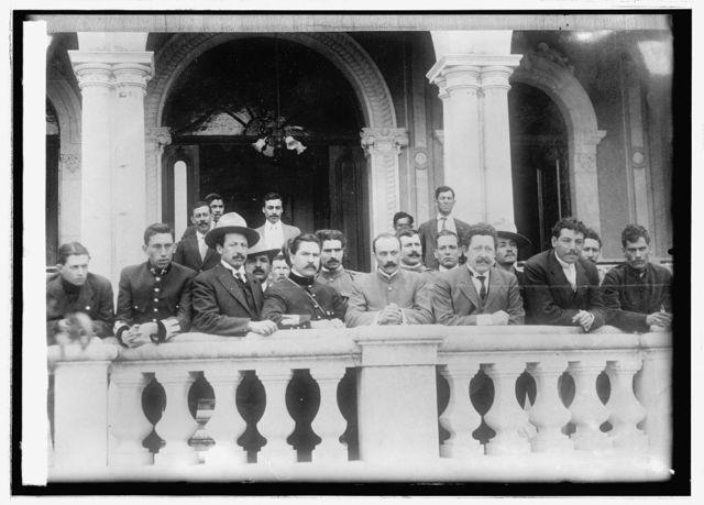 Mexico, Gov. Manuel Chao & his aides on veranda & Terrazas house