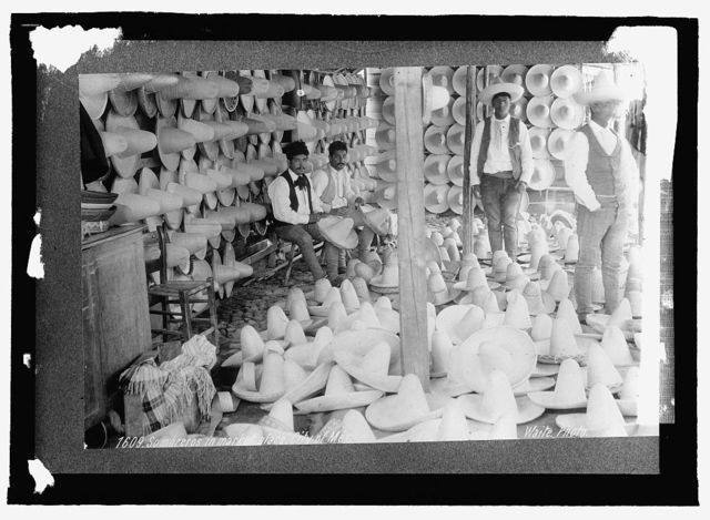 Mexico. Sombreros in Market place, Mexico City
