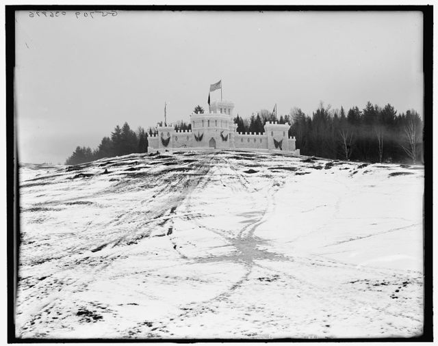 [Midwinter carnival, the ice fortress after the thaw, 1909, Upper Saranac Lake, N.Y.]