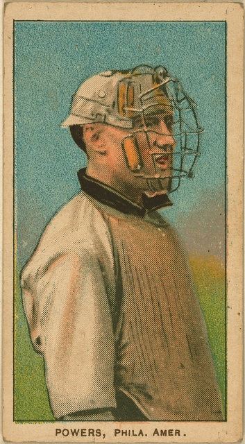 [Mike Powers, Philadelphia Athletics, baseball card portrait]