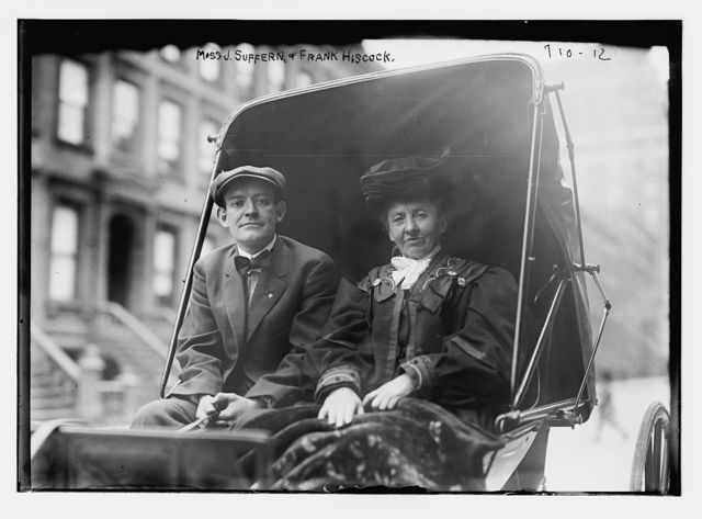 Miss J. Suffern and Frank Hiscock, in carriage