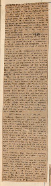 Mrs. Belmont Presiding At Carnegie Hall Suffrage Meeting; page 2