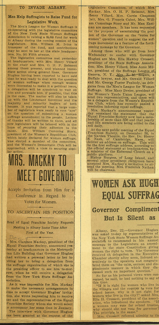 Mrs. Clarence Mackay to Meet Governor Hughes