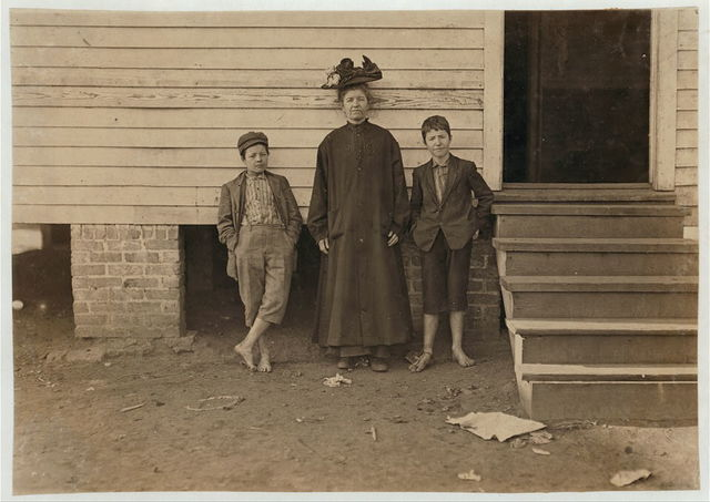 Mrs. S. J. Bonner and 2 boys. Work in Bibb Mill No. 1, Macon, Ga. She earns $3.50 a week. Boys together earn $4.90 a week. Husband died when they lived on a farm. She couldn't get any heavy work there to do so moved to Macon. Hopes to send the boys to school when they get a better start. Spends $2 a month for 2 rooms in this house. Does her own cooking and housekeeping, except sewing and washing. She chews snuff.  Location: Macon, Georgia.