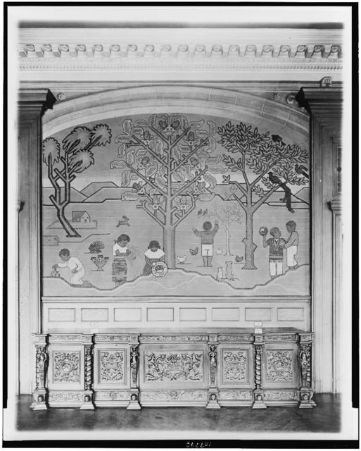 [Mural in Mexican Embassy, Washington, D.C., showing children, trees, and animals]