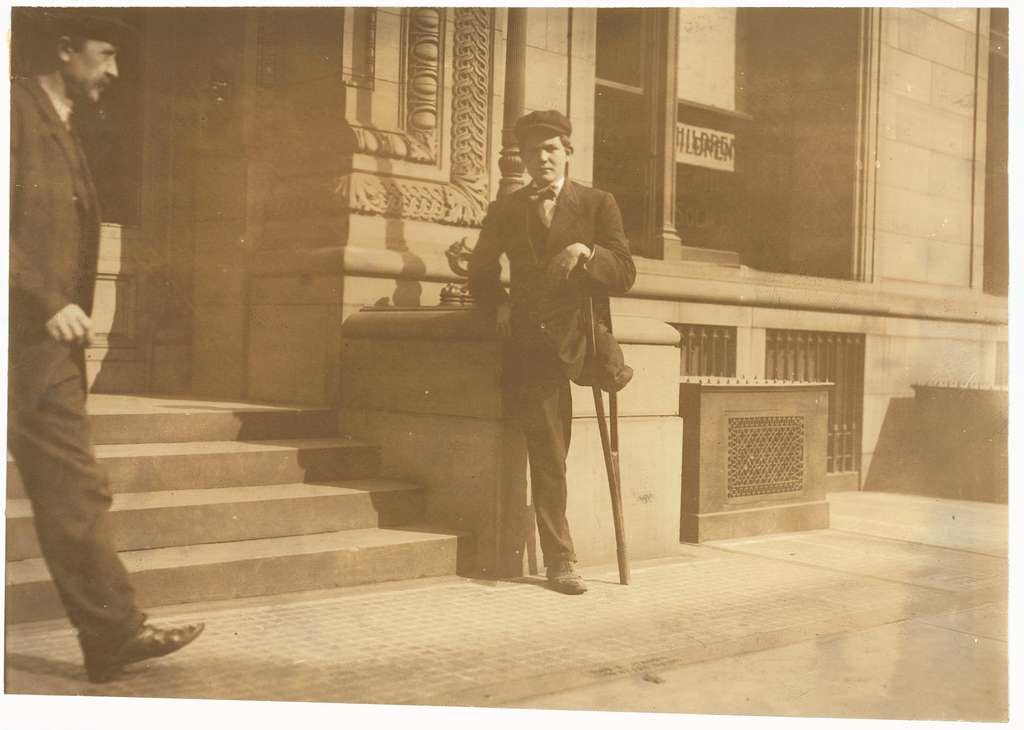 """National Child Labor Committee No. 954. 1-legged boy. Neil Gallagher, Wilkes Barre, Pa. Born January 14, 1891. Went to work at about 9 years. Worked about two years in breaker. Went inside at about 11 years. """"Tripper,"""" tending door. 83 cents a day. Injured May 2, 1904. Leg crushed between cars. Amputated at Mercy Hospital, Wilkes Barre. """"Baltimore Tunnell"""" - """"Black Diamond"""" D. & H. Co. Thomas Lewellin Superintendent (inside boys); Samuel Morgan, Superintendent. In Hospital 9 weeks. Amputated twice. No charge. Received nothing from company. """"Was riding between cars and we aren't supposed to ride between them."""" No written rules, but they tell you not to. Mule driver (who was on for first day) had taken his lamp and he tried to reach across car to get it. Slipped between bumpers. Been working in breakers since. Same place $1.10 a day. Work only about 12 time. Work about 6 hour day. Left 3 months ago. Been in N.Y. - no work. Trying to get work in Poolroom. Applicant at Bureau for Handicapped, 105 E. 22nd Street, N.Y. Nov. 1, 1909. Father living, (Mother dead.) Miner same place. Hurt month ago Rock fall. 2 brothers 25, 27. Home 15 Pennsylvania St. Location: Wilkes Barre, Pennsylvania"""