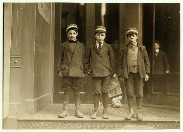 New Haven, Conn., March 8, 1909. Messenger boys. They work until 11 P.M.  Location: New Haven, Connecticut.