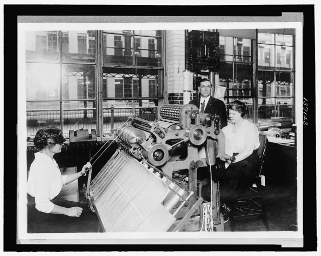 New perforating machine used by the Bureau of Engraving and Printing for perforating postage stamps ... / National Photo.