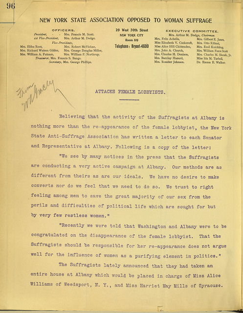 New York State Association Opposed to Woman Suffrage Attacks Female Lobbyists