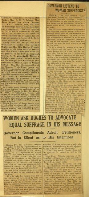 New York State Woman Suffrage Association Women Speak to Governor Hughes
