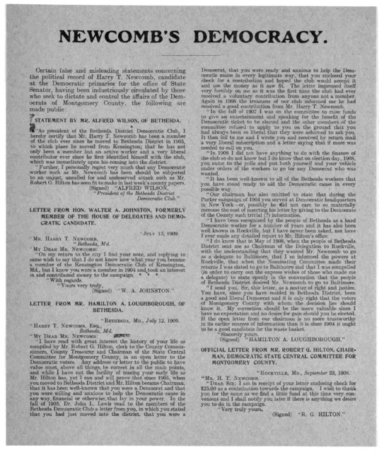 Newcomb's democracy. Certain false and misleading statements concerning the political record of Harry T. Newcomb, candidate at the Democratic primaries for the office of State Senator, having been industriously circulated by those who seek to di