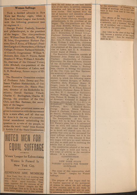 Noted Men for Equal Suffrage organize Voters' League