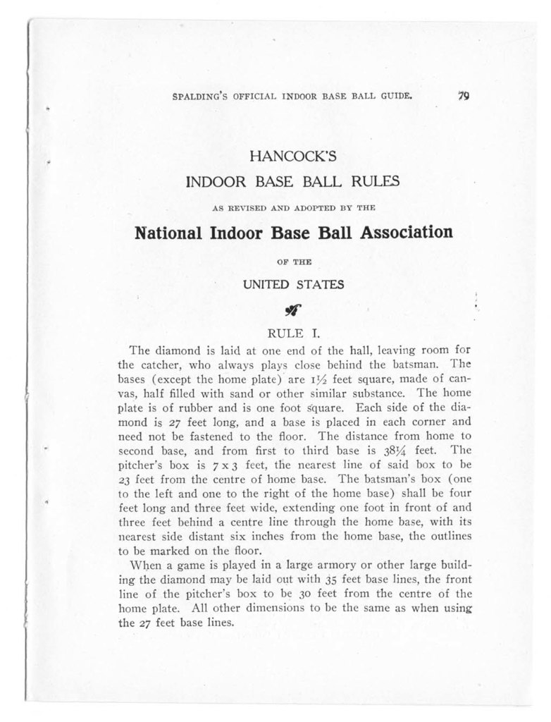 Official indoor base ball guide containing the constitution, 1909